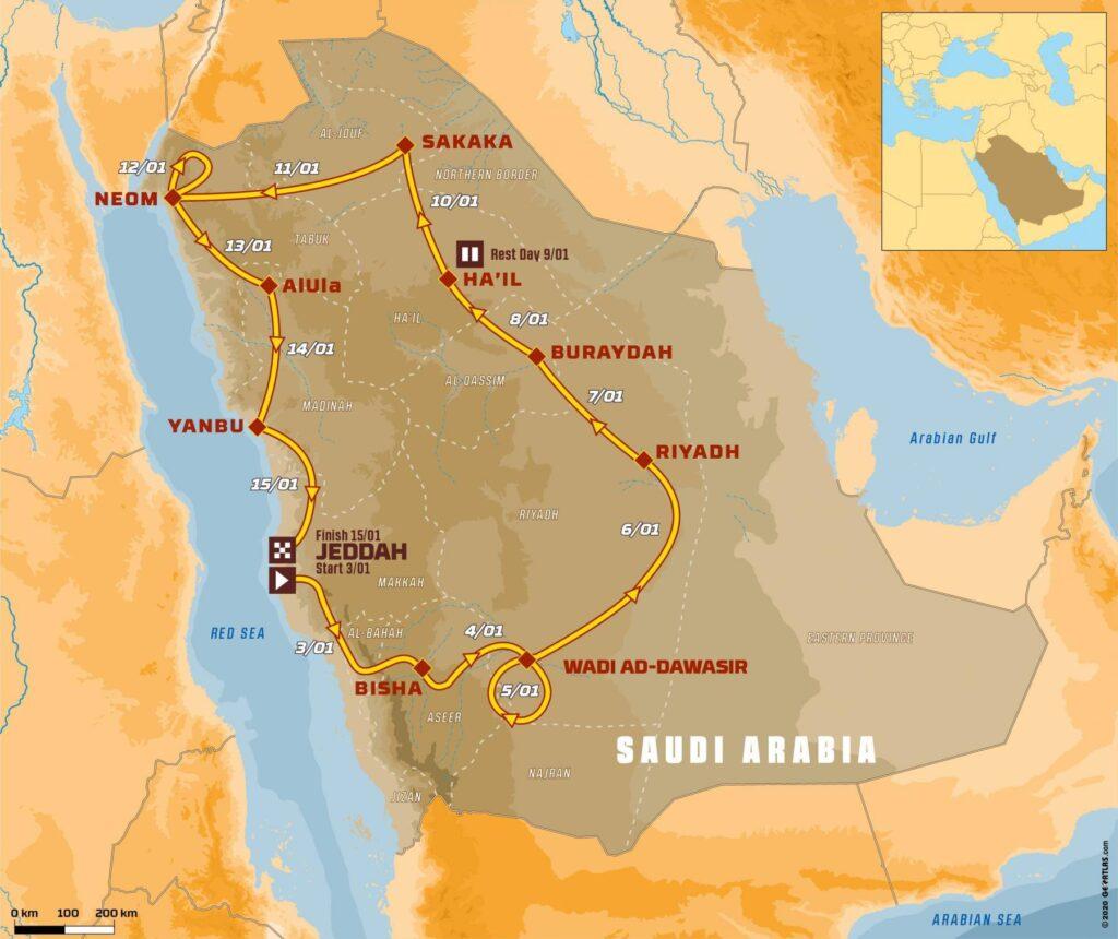 Rallye Dakar 2021: Mapa tratě